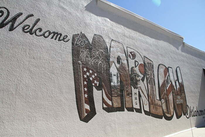 Welcome to Marlow mural in Chickasaw Country
