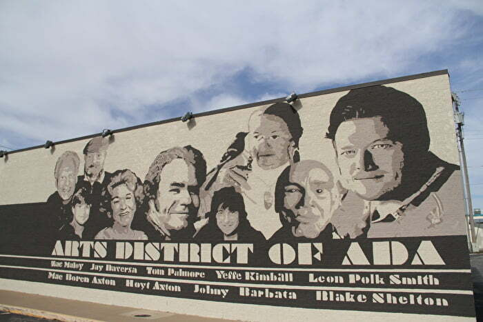 Famous Ada people mural in the Ada Arts District in Oklahoma
