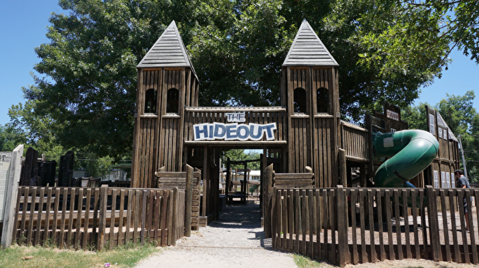 Children's jungle gym called The Hideout at Chickasaw Country
