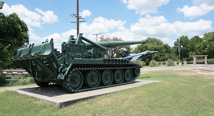 Military tank on display at a park in Chickasaw Country