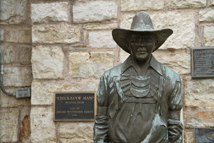 statue at Greater Southwest Historical Museum in Ardmore, OK