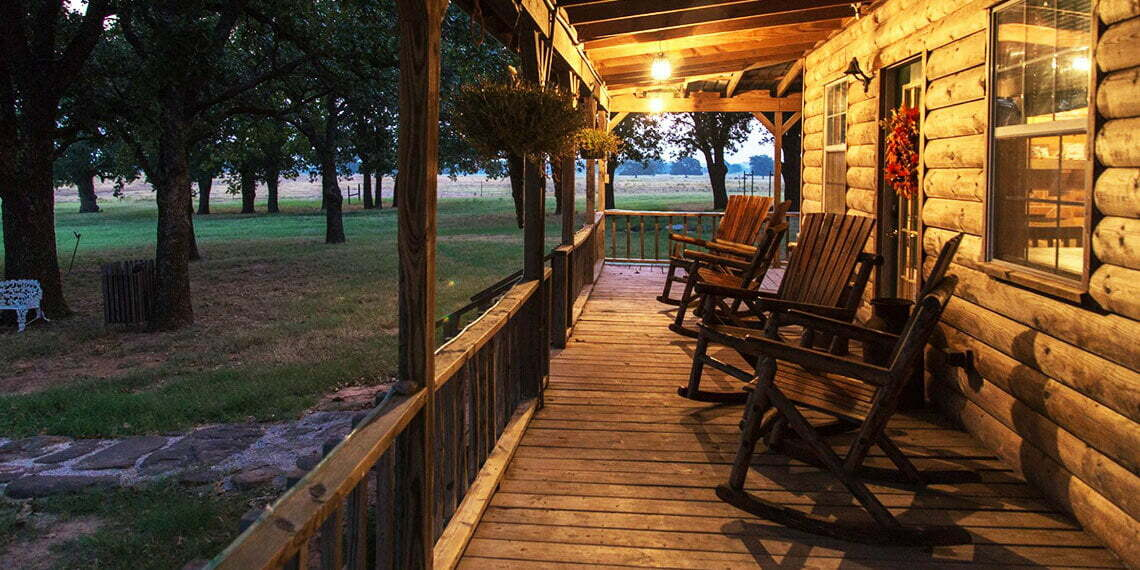 Allie B Country Getaway Porch and Rocking Chairs in Ringling, Oklahoma