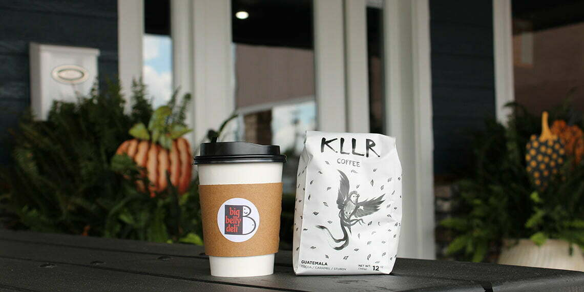 Big belly deli coffee cup and kllr coffee bag