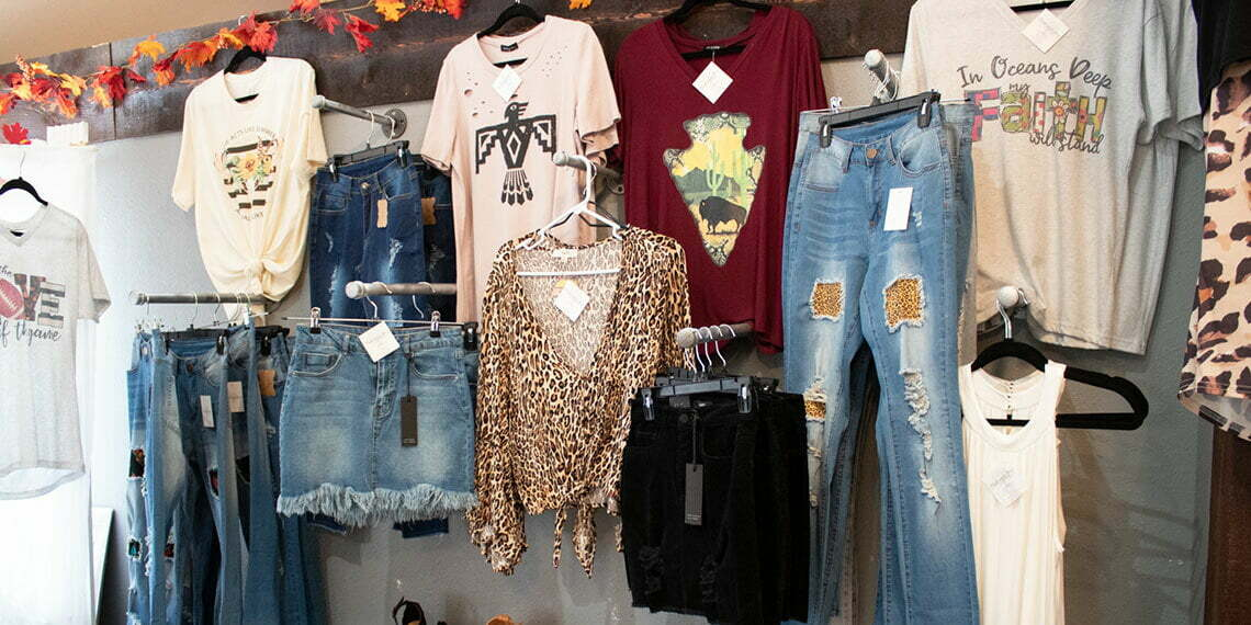 Oak and Ivy Fashion Boutique Clothes on Display in Sulphur, Oklahoma