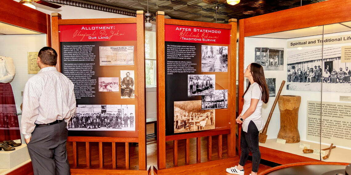 Information displays in the Chickasaw National Capitol in Tishomingo, Oklahoma