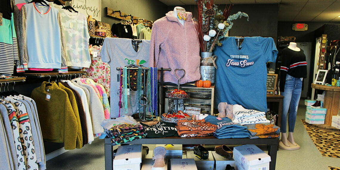 Clothes on display at Tammie's Bling in Newcastle, Oklahoma