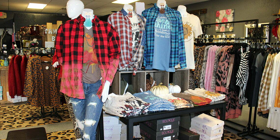 Clothes on display and folded at Tammie's Bling in Newcastle, Oklahoma