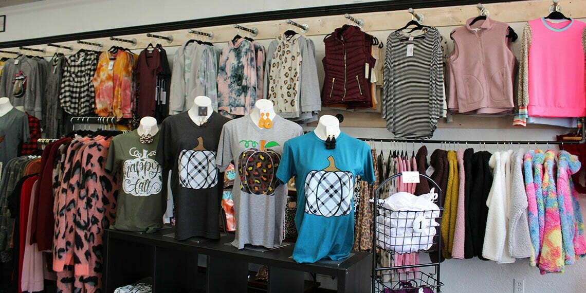 Shirts on Display at Polished Boutique in Chickasha, Oklahoma