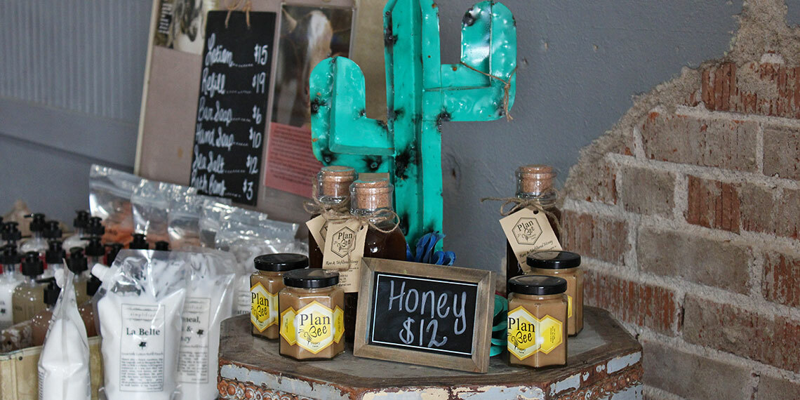 Honey for sale at 5th and Main in Ringling, Oklahoma