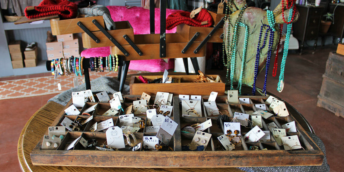 Jewelry for sale at 5th and Main in Ringling, Oklahoma