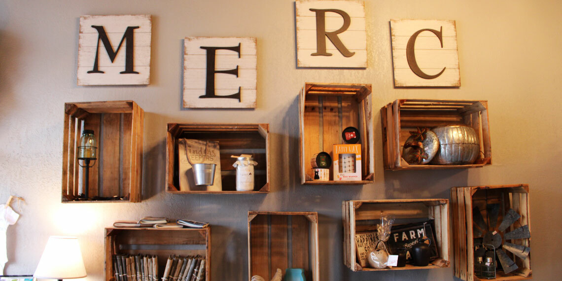 Wall decor at Wanderlust Mercantile in Purcell, Oklahoma