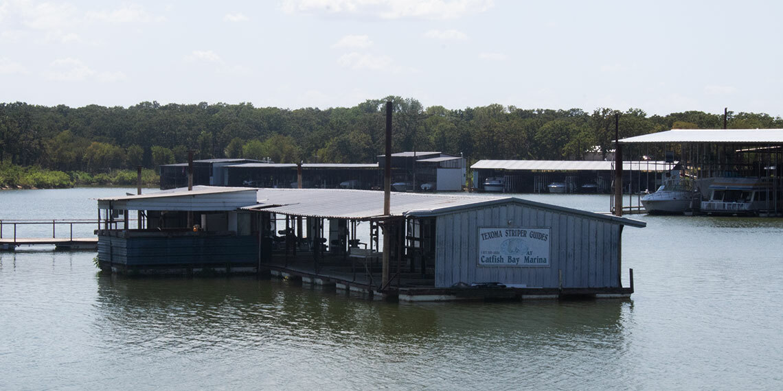 Floating boat port at Catfish Bay Marina in Kingston, Oklahoma