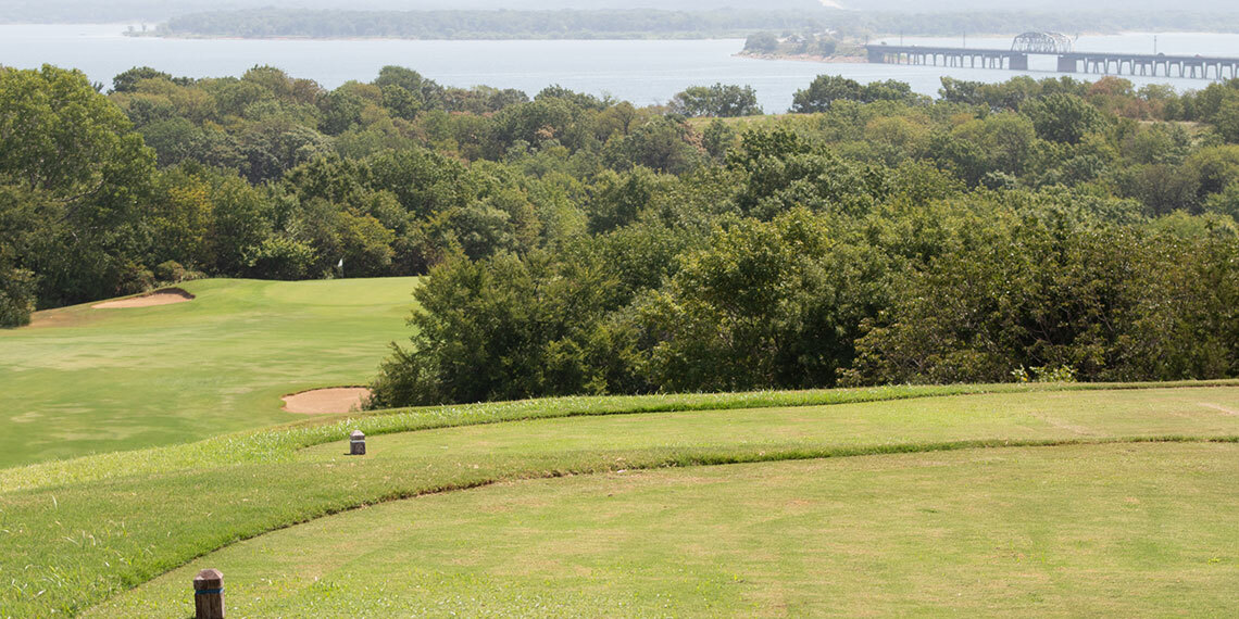 Greens overview at Chickasaw Pointe Golf Club in Kingston, Oklahoma