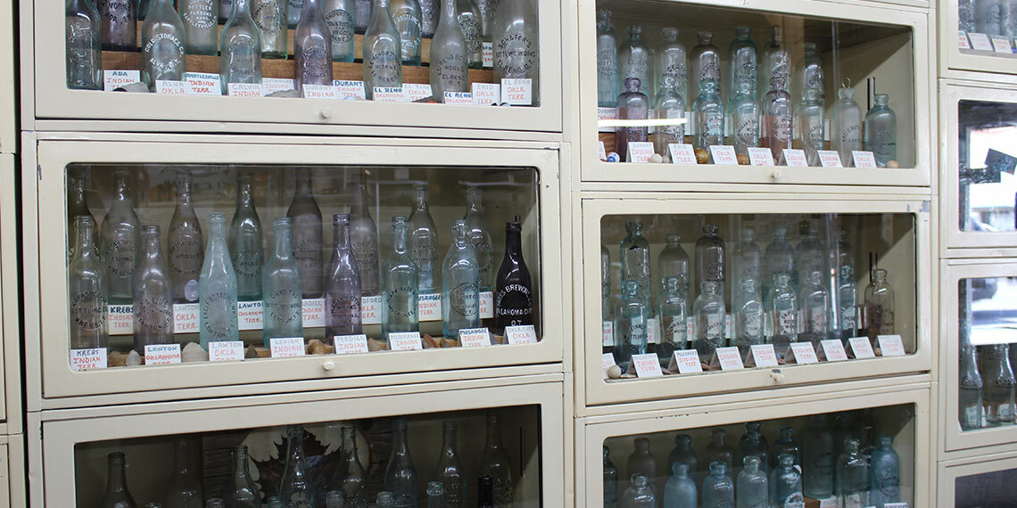 Bottles at Norton's Jewelry and Indian Territory Museum in Marietta, Oklahoma