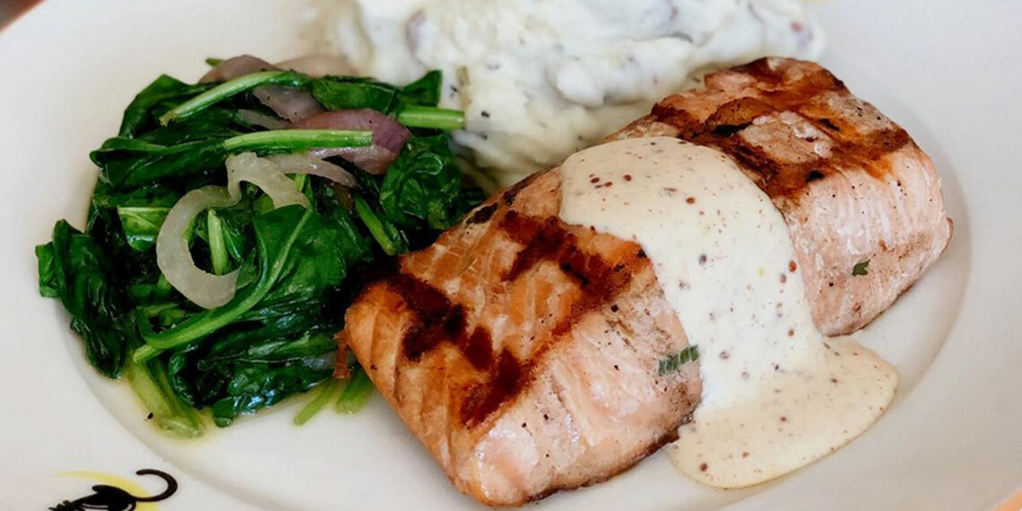 Salmon at Café Alley in Ardmore, Oklahoma