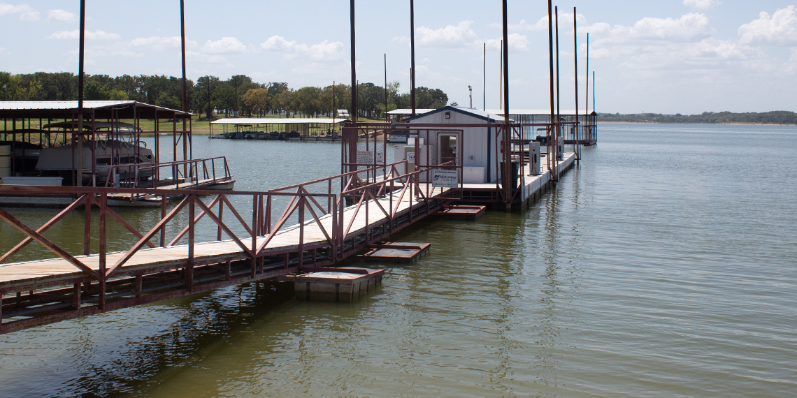 Dock at Bridgeview Resort in Madill, Oklahoma