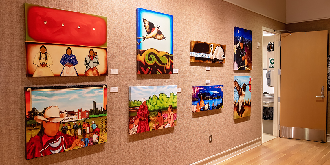 Wall of art in gallery at the ARTesian Gallery and Studios in Sulphur, Oklahoma