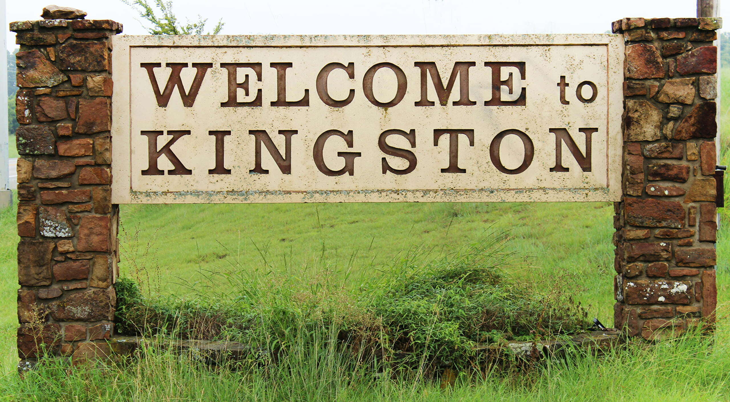 Welcome sign for Kingston, Oklahoma