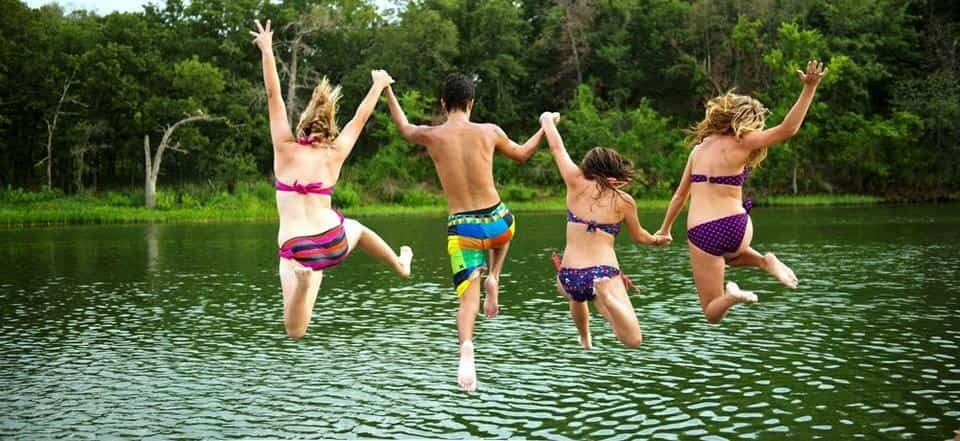 People jumping into the water in Kingston, Oklahoma