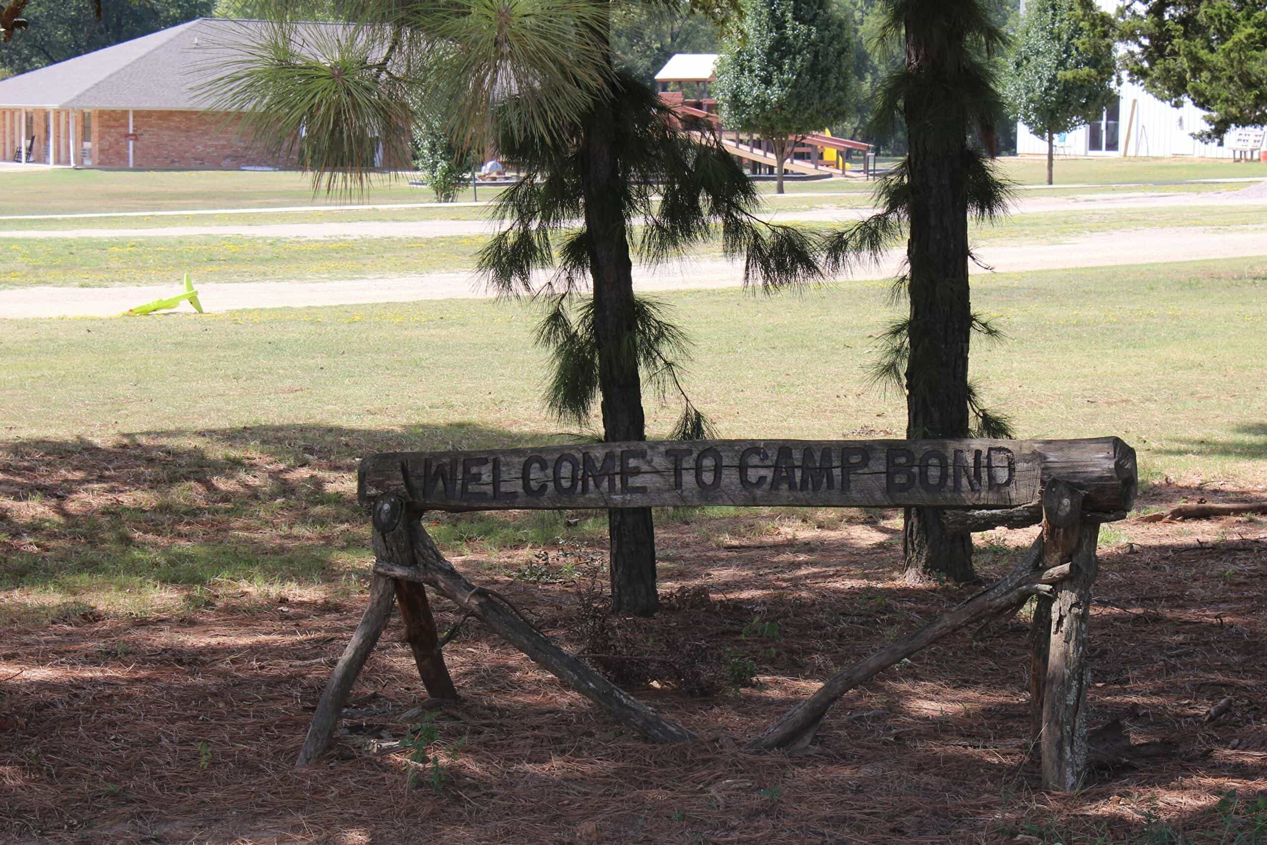 Welcome sign at Camp Bond in Tishomingo, Oklahoma