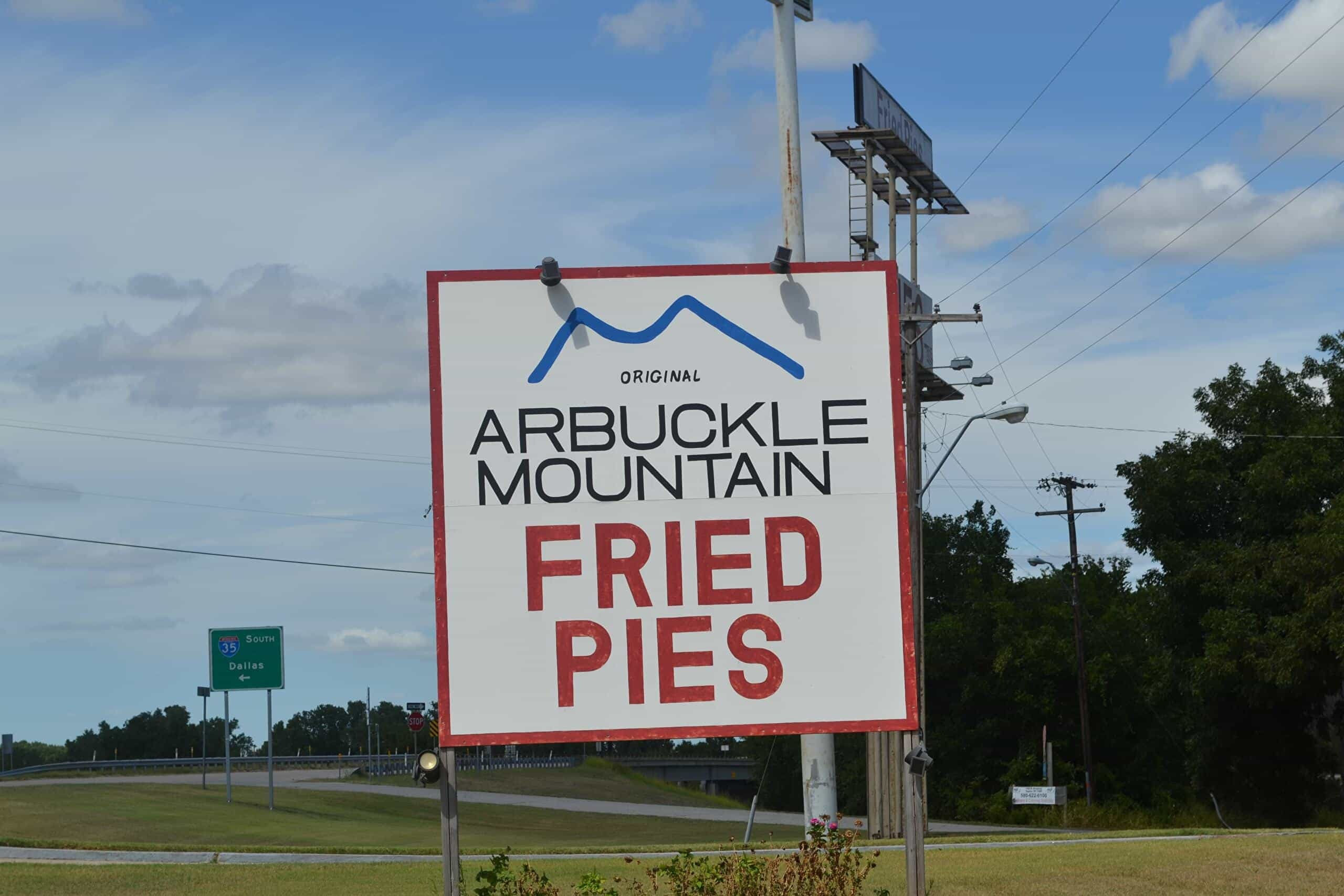 Sign for arbuckle mountain fried pies in davis oklahoma