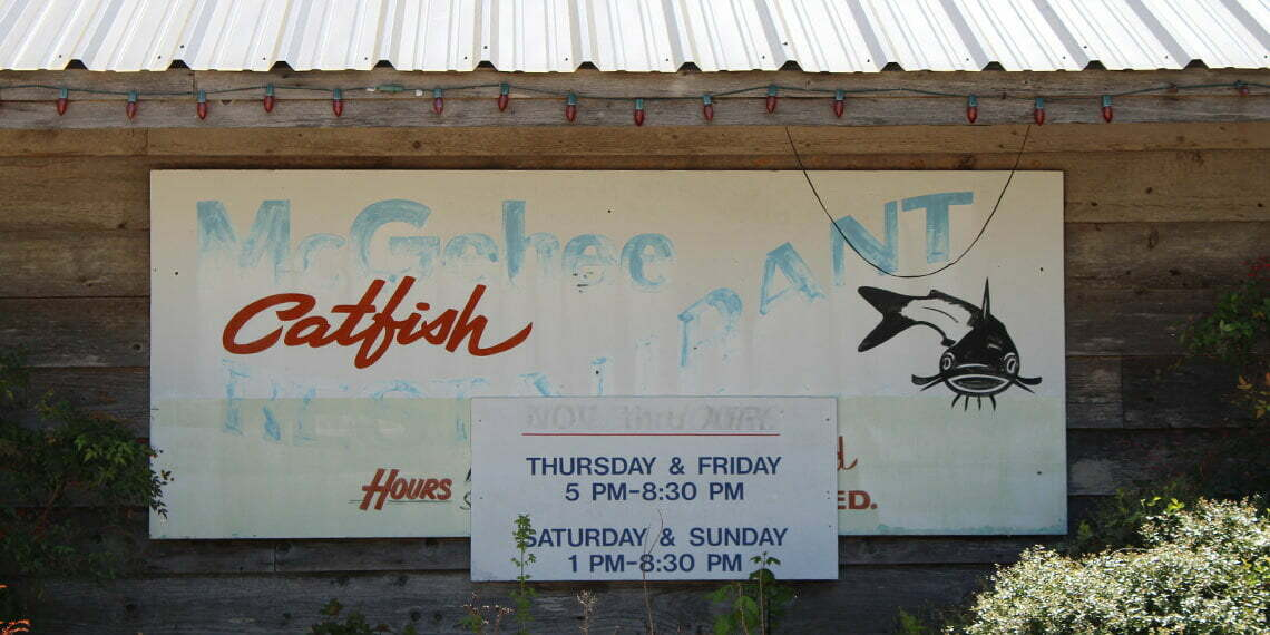 sign for  McGehee's catfish restaurant in marietta, oklahoma