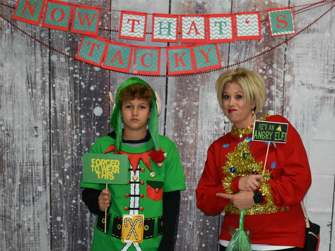 Photo booth at the Tacky Sweater 5K and Fun Run in Purcell