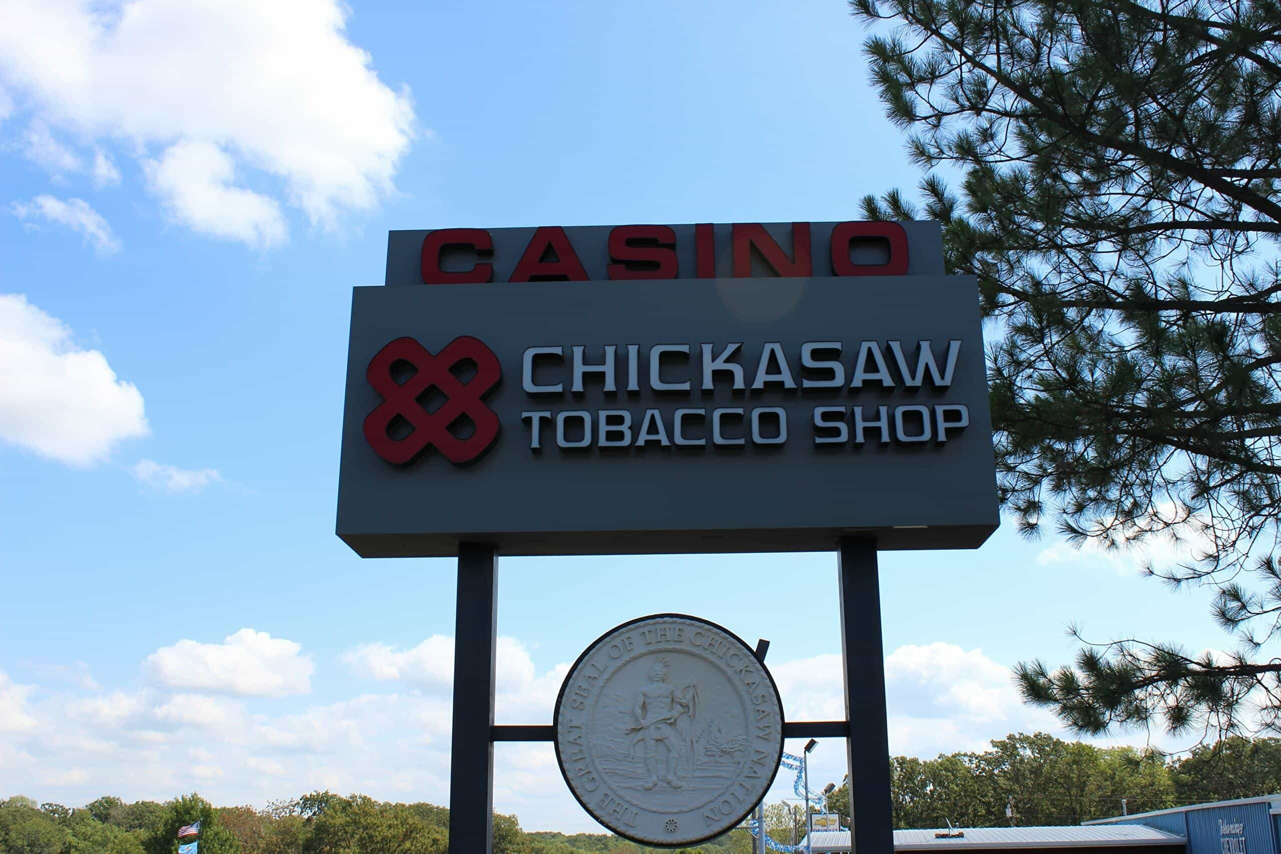 sign for the chickasaw tobacco shop
