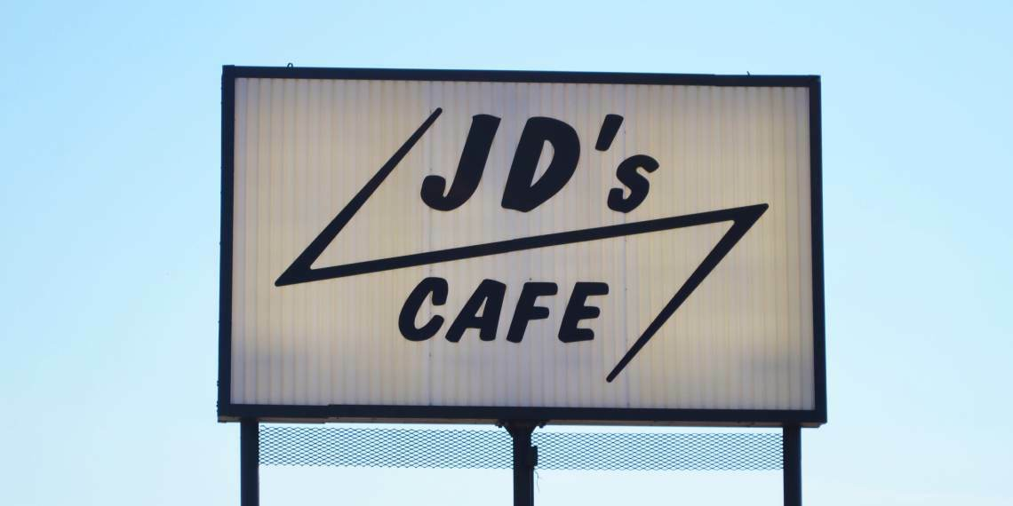 Sign for JD's Cafeteria in Ada, Oklahoma