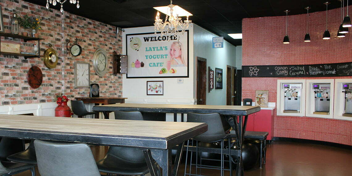 Interior of Layla's Yogurt Cafe in Chickasha, Oklahoma