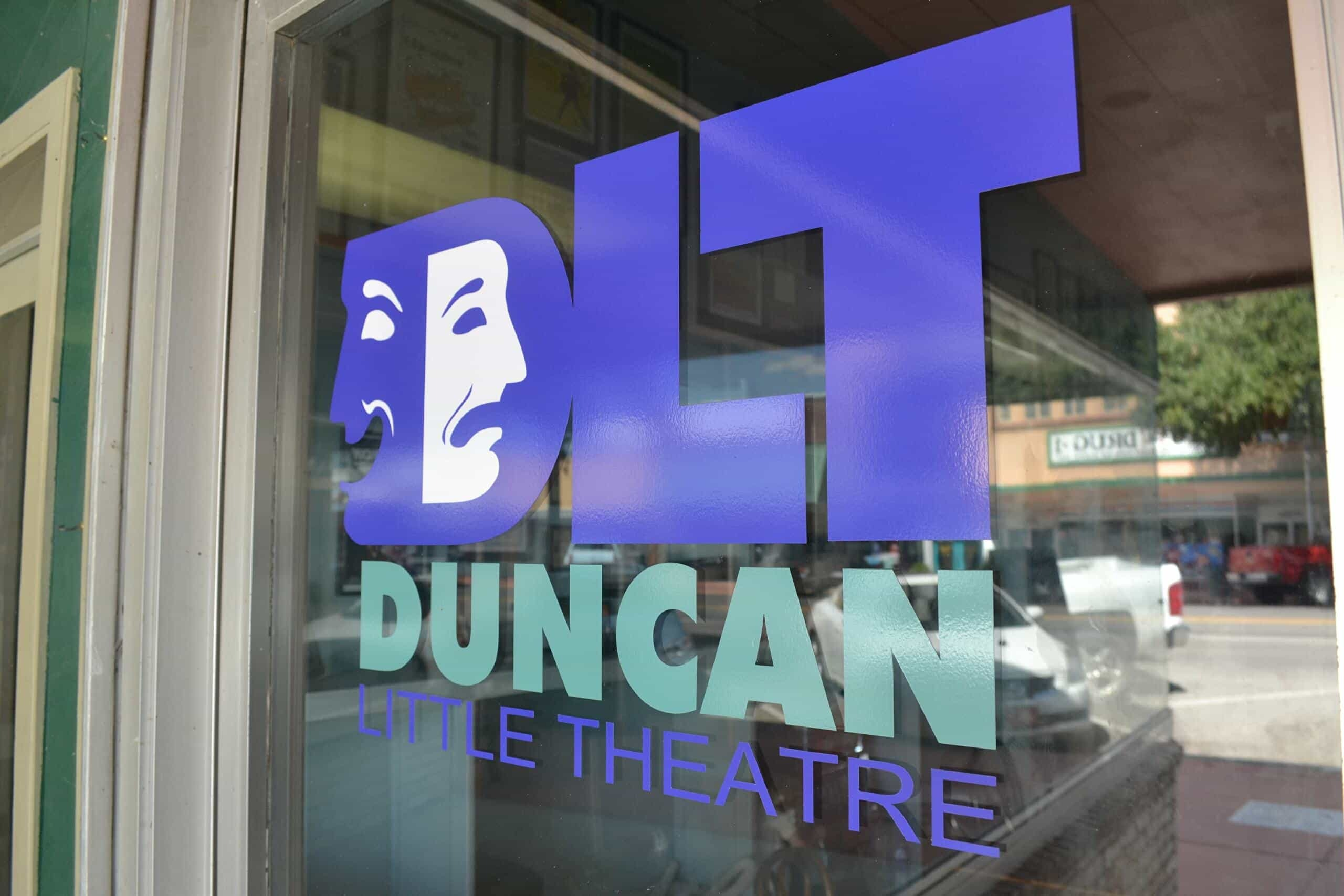 window sign at the duncan little theatre