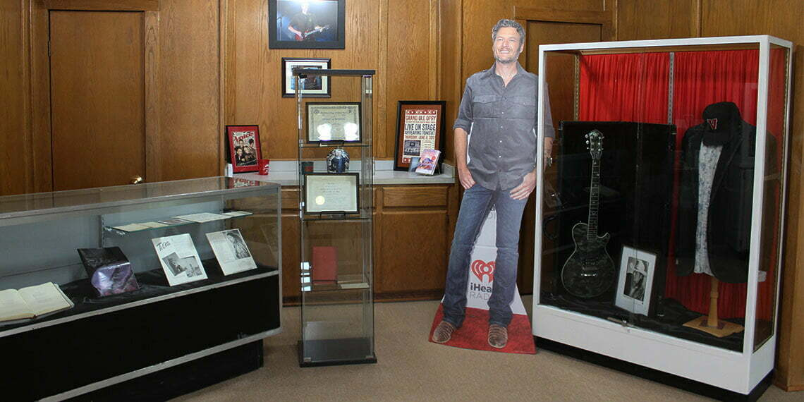 Blake Shelton display at the Chickasaw Bank Museum in Tishomingo, Oklahoma