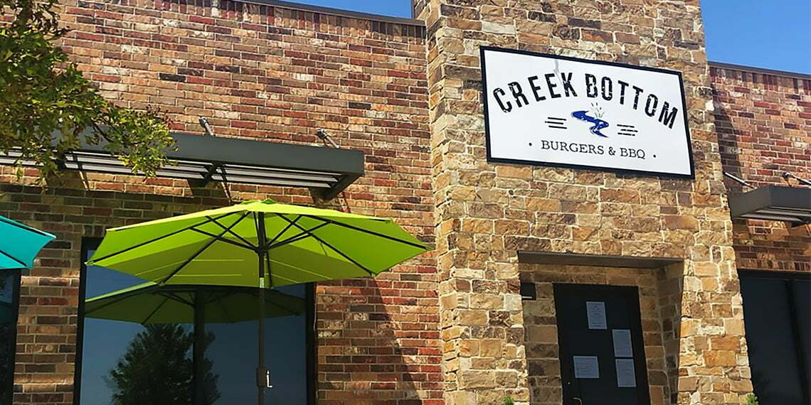 Exterior of creek bottom burgers and bbq in newcastle oklahoma